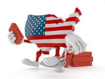 Carattere di U.S.A. con la cazzuola ed i mattoni illustrazione di stock
