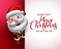 Carattere di vettore del Babbo Natale che mostra bordo bianco con il Buon Natale che accoglie illustrazione di stock