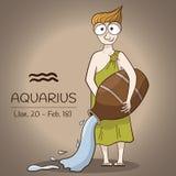 Carattere di vettore del fumetto del segno dello zodiaco di acquario royalty illustrazione gratis