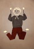 Carattere disegnato a mano sveglio in abbigliamento casual Fotografie Stock