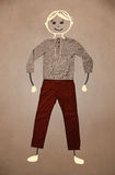 Carattere disegnato a mano sveglio in abbigliamento casual Fotografia Stock Libera da Diritti
