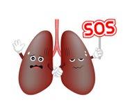Carattere disturbato polmone di danno che tiene il segno di SOS illustrazione vettoriale
