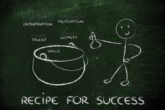 Carattere divertente che crea la ricetta per successo Immagine Stock Libera da Diritti