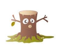 Carattere divertente del ceppo di albero Immagine Stock Libera da Diritti