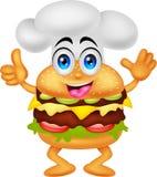 Carattere divertente del cuoco unico dell'hamburger del fumetto Fotografia Stock Libera da Diritti