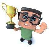 carattere divertente del nerd del computer del fumetto 3d che tiene un premio premiato del trofeo della tazza dell'oro nel trionf illustrazione vettoriale