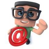 carattere divertente del nerd del computer del fumetto 3d che tiene un simbolo di indirizzo email illustrazione vettoriale