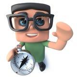 carattere divertente del nerd del computer del fumetto 3d che tiene una bussola di navigazione royalty illustrazione gratis