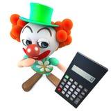 carattere divertente del pagliaccio del fumetto 3d che tiene un calcolatore digitale Fotografia Stock