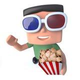 carattere divertente del pirata informatico del geek del nerd del fumetto 3d che guarda un film 3d mangiare popcorn Immagini Stock