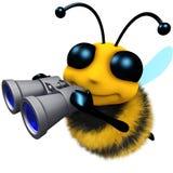 carattere divertente dell'ape del miele del fumetto 3d che guarda tramite il binocolo Fotografia Stock Libera da Diritti