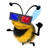 carattere divertente dell'ape del miele del fumetto 3d vetri d'uso un 3d per guardare un film Fotografie Stock