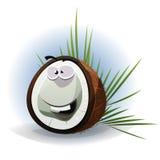 Carattere divertente della noce di cocco del fumetto Fotografie Stock