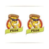 Carattere divertente della pizza Fotografia Stock Libera da Diritti
