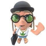 carattere divertente dello snocciolatore del hippy del fumetto 3d che porta un cappello di giocatore di bocce e che porta una car Illustrazione Vettoriale