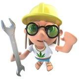 carattere divertente dello snocciolatore del hippy del fumetto 3d che tiene una chiave e che indossa un casco di sicurezza illustrazione di stock