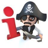 carattere divertente di capitano del pirata del fumetto 3d che tiene un simbolo di informazioni illustrazione vettoriale