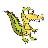Carattere divertente sorridente dell'alligatore del fumetto del coccodrillo Fotografia Stock