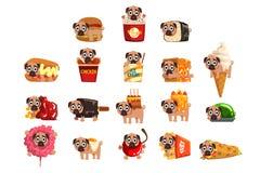 Carattere divertente sveglio del cane del carlino come insieme dell'ingrediente degli alimenti a rapida preparazione delle illust illustrazione di stock
