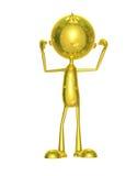 Carattere dorato con la posa del body building Fotografia Stock Libera da Diritti