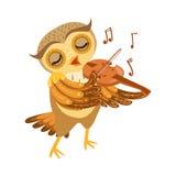 Carattere Emoji di Owl Playing Violin Cute Cartoon con Forest Bird Showing Human Emotions e comportamento Fotografia Stock Libera da Diritti