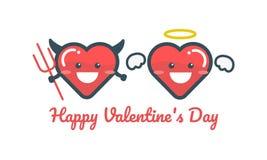 Carattere felice del cuore Fumetto su fondo bianco, concetto di amore Fotografie Stock Libere da Diritti