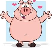 Carattere felice della mascotte del fumetto del maiale a braccia aperte Fotografia Stock Libera da Diritti