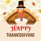 Carattere felice della mascotte del fumetto dell'uccello della Turchia del pellegrino che tiene un segno felice di ringraziamento illustrazione vettoriale
