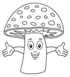 Carattere felice di coloritura del fungo Fotografia Stock Libera da Diritti