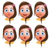 Carattere femminile di vettore dell'avatar Insieme delle teste della ragazza dell'adolescente Fotografie Stock
