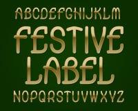 Carattere festivo dell'etichetta Fonte tipografica dorata Alfabeto inglese isolato Fotografie Stock Libere da Diritti