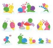 Carattere a forma di lumaca di vettore della lumaca con lo snailfish del fumetto e delle coperture o insieme del tipo di lumaca d royalty illustrazione gratis