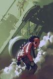 Carattere futuristico dell'uomo rosso della maschera antigas che sta nel fumo bianco illustrazione vettoriale