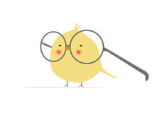 Carattere Geeky e divertente del cartone animato dell'uccello con i vetri enormi nel vettore piano minimalista isolati illustrazione di stock