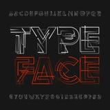 Carattere geometrico astratto di alfabeto Lettere e numeri futuristici illustrazione di stock