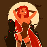 Carattere grazioso della ragazza del diavolo del fumetto Fotografie Stock Libere da Diritti