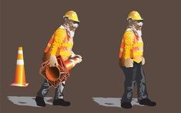 Carattere indrustrial di servizio della costruzione del lavoratore dell'atto del fumetto fotografia stock libera da diritti