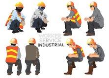 Carattere industriale a di vettore del fumetto della costruzione di servizio del lavoratore immagini stock