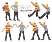 Carattere industriale di vettore del fumetto della costruzione di servizio del lavoratore immagini stock libere da diritti