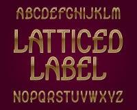 Carattere ingraticciato dell'etichetta Fonte tipografica dorata Alfabeto inglese isolato Immagine Stock Libera da Diritti
