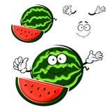 Carattere isolato fumetto della frutta dell'anguria Immagine Stock