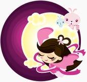 Carattere leggendario di metà di autunno - Chang Er e coniglio royalty illustrazione gratis