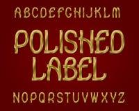 Carattere lucidato dell'etichetta Fonte tipografica dorata Alfabeto inglese isolato Immagine Stock