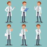 Carattere maschio sveglio di medico in varie azioni illustrazione vettoriale