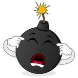 Carattere nero della bomba circa da esplodere Fotografie Stock