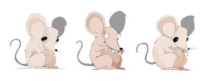 Carattere pazzesco dei mouse disegnato a mano Immagine Stock