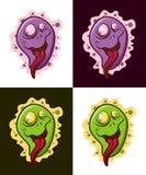 Carattere pazzo del virus Mascotte divertente di vettore del microbo illustrazione vettoriale