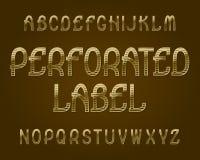 Carattere perforato dell'etichetta Fonte tipografica dorata Alfabeto inglese isolato Fotografia Stock Libera da Diritti