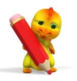 Carattere piccolo divertente del drago con la grande rappresentazione rossa della matita 3d Fotografia Stock