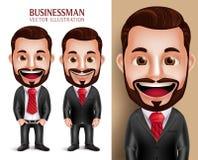 Carattere professionale di vettore dell'uomo di affari felice in abbigliamento corporativo attraente Fotografie Stock Libere da Diritti